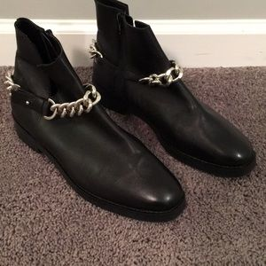 Zara Black Leather Ankle Chain Booties Sz 40